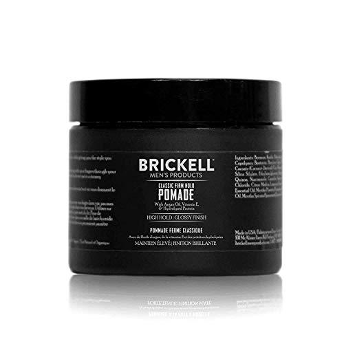 Brickell Men's Firm Hold Pomade para Hombres, Natural y Orgánico con Fijación Fuerte y Acabado de Alto Brillo, 59 ml, Perfumado