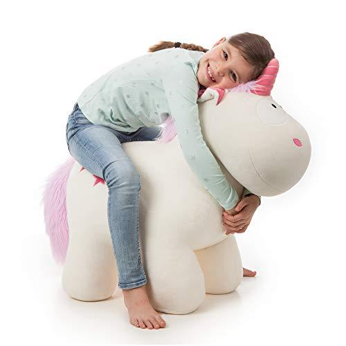 NICI 40129 Sitztier Theodor 80 cm I Einhorn Reittier für Mädchen, Steht sicher und trägt Personen bis zu 100 kg – Designed in Germany