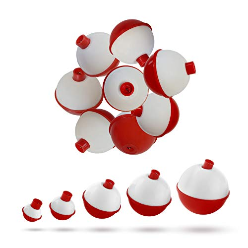 no doubt Fishing Bobbers and Floats Set - Hard ABS Red and White Fishing Floats, Push Button Round Buoy Floats, Fishing Tackle Accessories (0.75inch-50pcs)