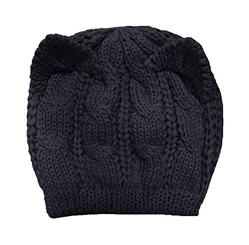 Kfnire Gorros, Sombrero de oído de Gato - Las Mujeres de cáñamo Caliente Orejas Flores de cáñamo Sombrero de Punto (Negro)