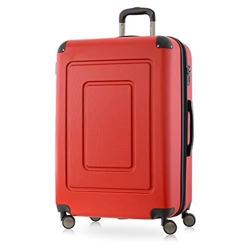 Happy Trolley - Lugano - Hochwertiger großer XL Koffer, Bruchfest, Hartschalen-Trolley, leicht, TSA Schloss, Volumenerweiterung, 4 leise Doppelrollen, Reisekoffer Trolley, 76cm, 113L, Rot