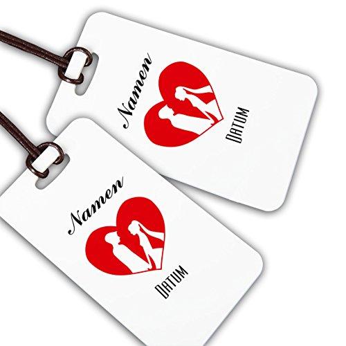 Herz & Heim® Kofferanhänger zur Hochzeit mit Aufdruck der Namen & Datum