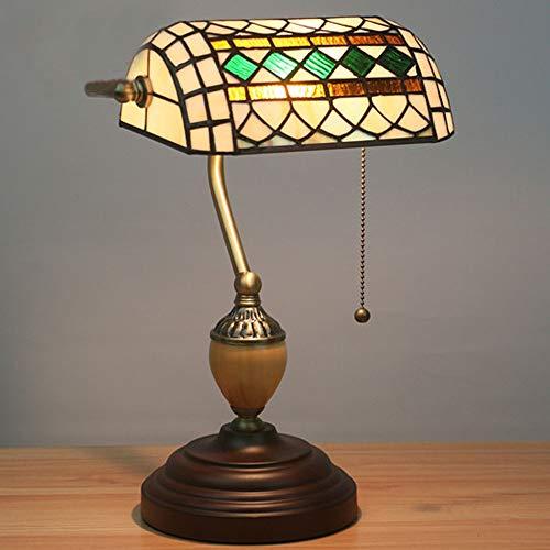 L.W.S Lámpara de Escritorio Lámpara Tiffany Style Retro Nostalgia Pantalla Recta Iglesia Base de Cristal Zinc Aleación de Mesa Lámpara de Mesa Lámpara de Mesa Dormitorio Estudio Restaurante Bar Cafe