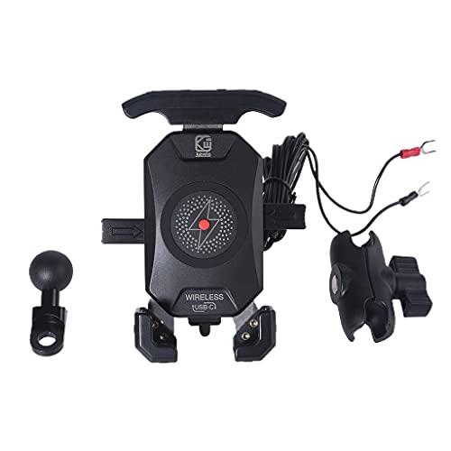 Motocicleta Qi teléfono inalámbrico montaje cargador espejo teléfono móvil carga rápida titular interruptor impermeable 360 rotación