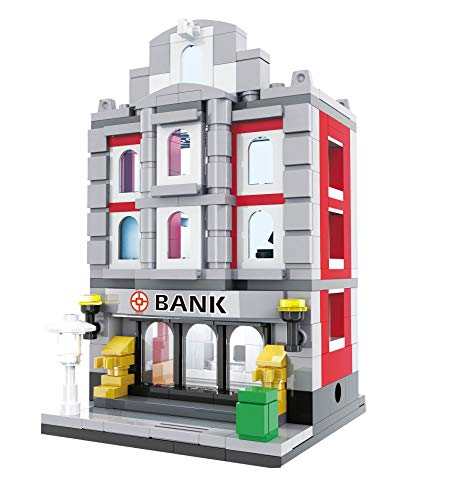 Modbrix City Bausteine Haus Bank, 260 teiliges Konstruktionsspielzeug