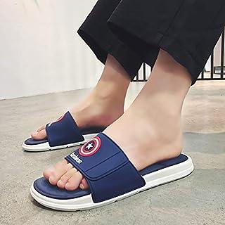 Summer Men's Slippers Sandals Non-slip Flat Unisex Beach Shoes Fashion Women Bathroom Flip Flop Home Flip Flops (Color : Blue 016, Shoe Size : 41)