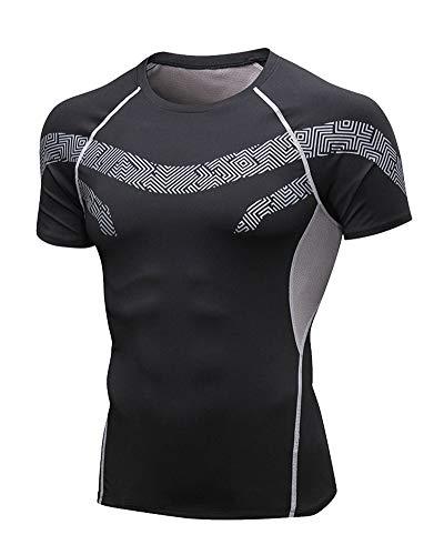 Aden Uomo Maglietta Compressione Manica Corta Sport Elastica Asciugatura Rapida Baselayer Shirts Tops