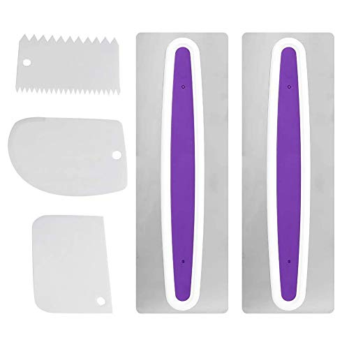 5 Stks Cake Smoother Scraper, Icing Comb Keuken Fondant Cake Cream Decorating RVS Polijstmachine Flat Edge Smoothing Tool DIY Tool Mousse Cream Sugar Craft
