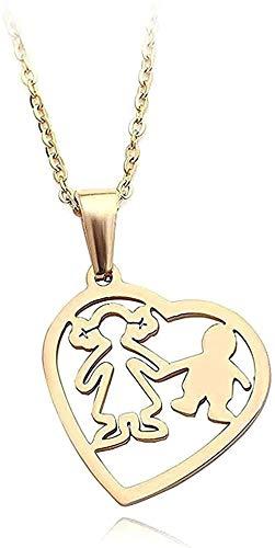 ZGYFJCH Co.,ltd Collar Color Dorado Madre Hijo Madre Hija Corazón para Mujeres Hombres Collares de Cadena de Acero Inoxidable Joyería de Amor Familiar Regalo-Oro