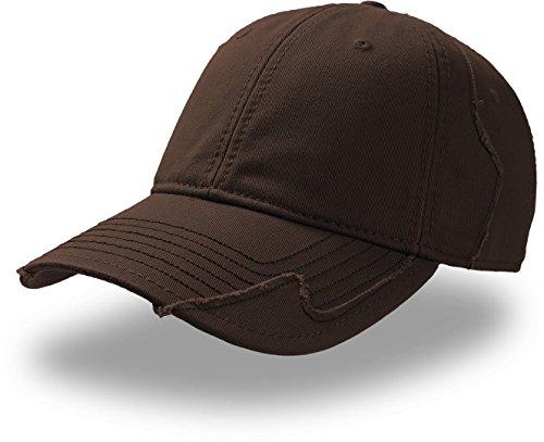 Gorra de béisbol de algodón chino, Vintage, acabado roto con Patchwork (Talla Única) Marrón marrón