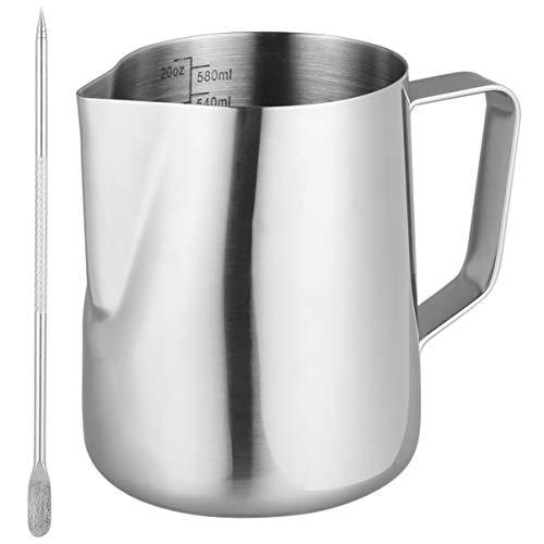 HEMOTON Milchkännchen Milchkanne Edelstahl 600ml Milch Aufschäumen Krug, Milch Pitcher mit Barista Stift/Latte Art Pen, Kännchen für den Milchaufschäumer für Cappuccino & Macchiato