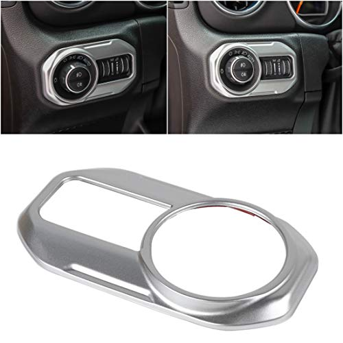 YOCTM for Jeep Wrangler JL 2018 2019 Parts Accessories Headlight Head Lamp Switch Button Decoration Trim Cover Stickers Car Styling (Silver)