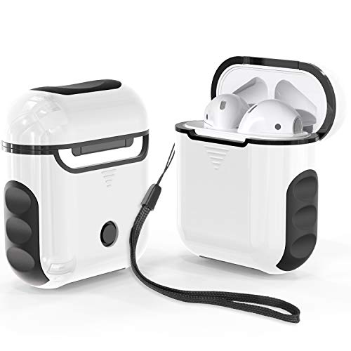 ORETECH Designed for Airpods Case Cover,Heavy Duty Hybrid 2 in 1 Shockproof Full Protective Case Hard PC Soft Rubber Silicone Cover Accessories Kits for Airpods 1/ 2 - White&Black