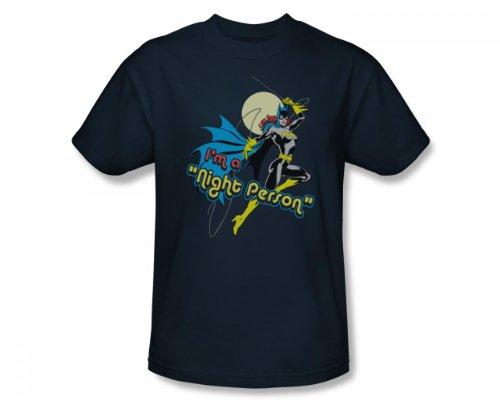 Batgirl - - Personne Nuit Fit adultes Slim T-shirt dans la Marine, Medium, Navy