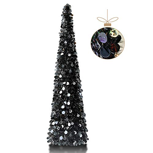 YuQi 5' Round Sequins Decorated Pop-Up Artificial Black Christmas Tree,Collapsible Pencil Christmas Trees for Apartments,Dorm Rooms,Fireplace or Party