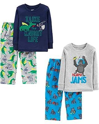 Simple Joys by Carter's Boys' Little Kid 4-Piece Pajama Set (Cotton Top & Fleece Bottom), Gorilla/Dragons, 5