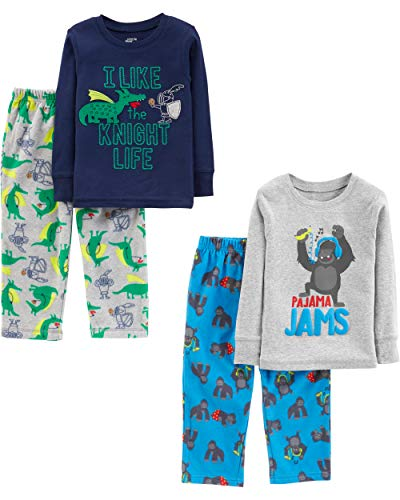 Simple Joys by Carter\'s 4-Piece infant-and-toddler-pajama-sets, Gorilla/Dragons, 4T