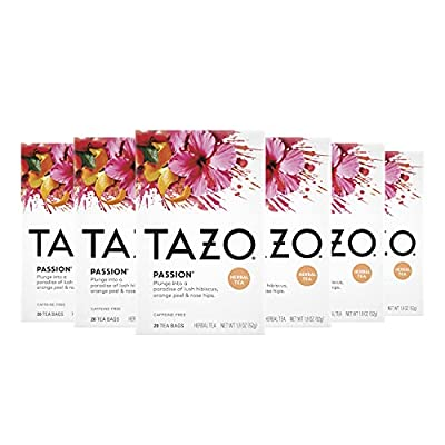 Tazo Herbal Tea Tea Bags For a Refreshing Beverage Passion Caffeine-Free 20 Tea Bags, Pack of 6 by Tazo
