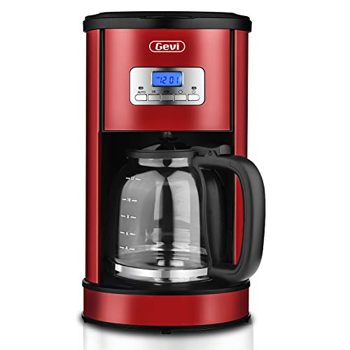 Gevi Coffee Maker 12 Cup, Programmable Drip Coffee Machine with Coffee Pot and Filter for Home and Office,Red