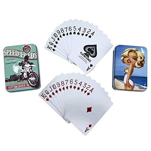 TX GIRL 2set / Lot wasserdichte Plastikspielkarten Mit Tinplate Box PVC-Spielkarten Texas Hold\'em Poker Kreativer Muster Geschenk-Brettspiel (Color : Motorbike Girl)