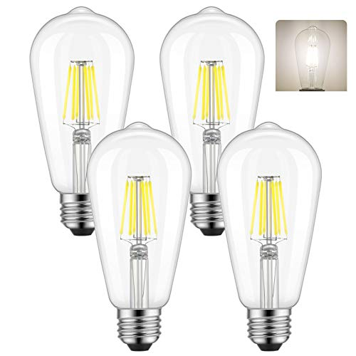 ST58 Vintage Edison LED Bulb 60 Watt Equivalent, 4000K Daylight White, Kohree 6W E26 Dimmable LED Filament Light Bulb for Restaurant, Home, Reading Room, 4 Pack