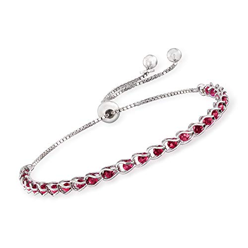 Ross-Simons Italian 4.00 ct. t.w. Simulated Ruby Bead Bolo Bracelet in Sterling Silver For Women Adjustable Size 925 Made in Italy