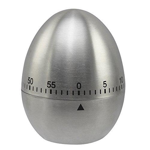 com-four® Klassische Eieruhr als Kurzzeitmesser aus Edelstahl (01 Stück - Edelstahl)