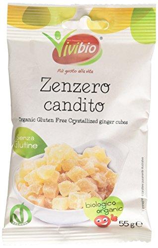 Vivibio Zenzero Candito Cubi senza Glutine Bio - 55 g (pacco da 10)
