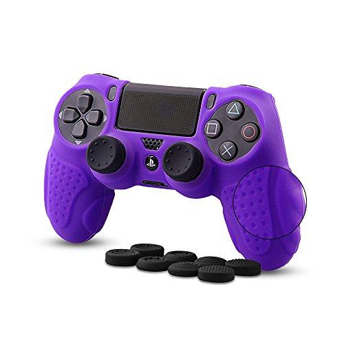 CHIN FAI für PS4 Controller Schutz-Hülle,Silikon Anti-Rutsch 8 Daumen Griffe Skin Grip Schutzhülle für Sony PS4 / Slim/Pro Controller(Lila)