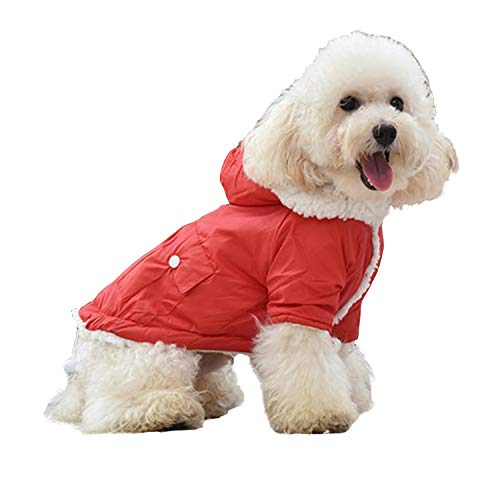 SLNKS犬服 ペット服 コート 秋冬用 ドッグウェア 暖かい 小中型犬 防寒 犬猫用 お散歩お出かけ服 可愛い 着物 フード付き 加絨毛 クリスマス 着物 ファッション(レッド、M)