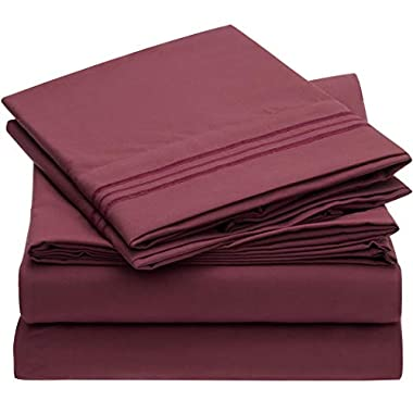 Mellanni Bed Sheet Set - Brushed Microfiber 1800 Bedding - Wrinkle, Fade, Stain Resistant - Hypoallergenic - 4 Piece (Queen, Burgundy)