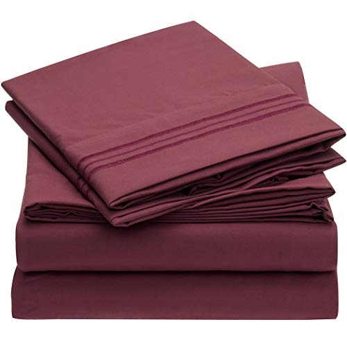 Mellanni Bed Sheet Set - Brushed Microfiber 1800 Bedding - Wrinkle, Fade, Stain Resistant - 4 Piece (Full, Burgundy)