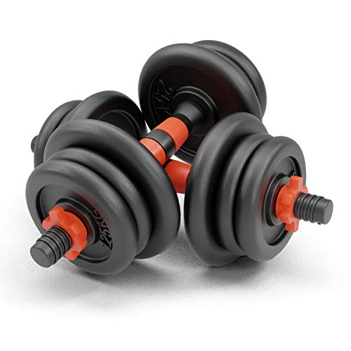 NEOLYMP Premium Kurzhanteln 2er Set Gusseisen 20kg / 30kg – Hantelstangen, Gewichte und Sternverschlüsse gerändelt 25mm schwarz rot (2X 10KG (20KG))