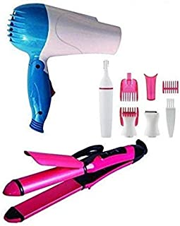 VEU Hair Styling Tools Hair Dryer, 2 in1 Straightener and Curler, Painless Trimmer Combo for Women (Multicolour)