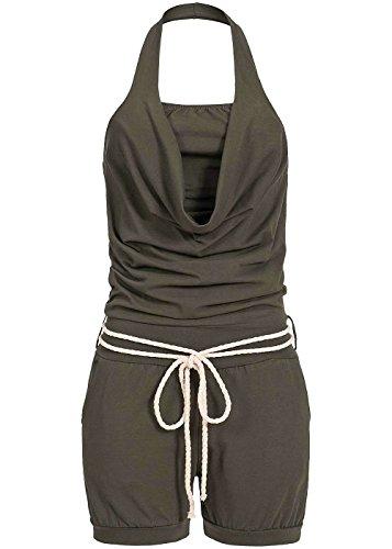 Styleboom Fashion® Damen Short Jumper Neckholder Jumpsuit Kordel 2 Taschen Military grün, Gr:L