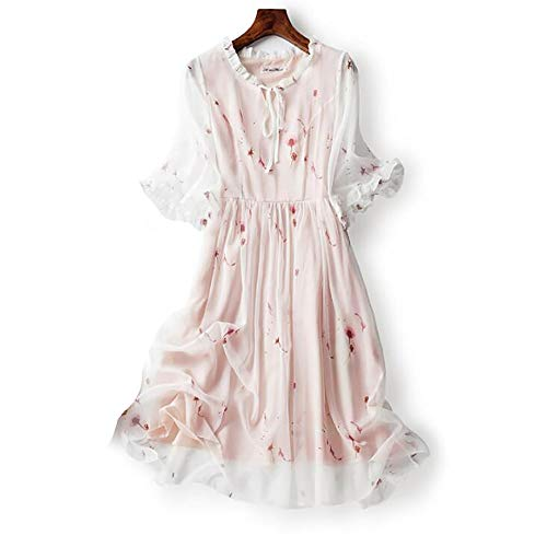 HEYG-Dress Vestir Moda Casual Motivo Floral Patrón Impreso Altavoz Manga Gasa Una...