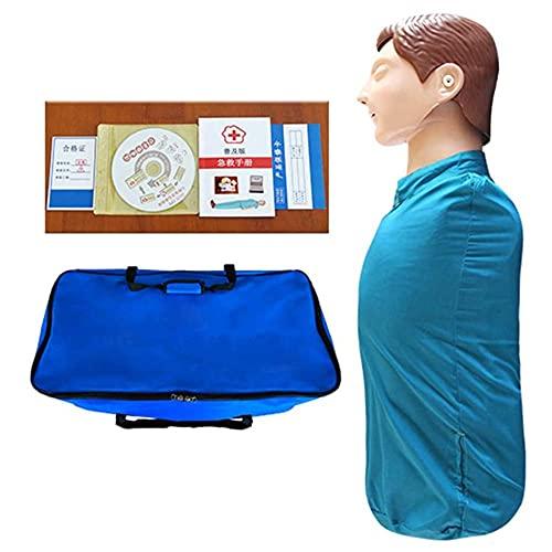 XGYUII CPR - Maniquí de entrenamiento cardiovascular de medio cuerpo, modelo de reanimación pulmonar para enseñar ayuda de entrenamiento con bolsa de transporte