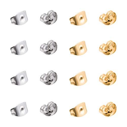 UNICRAFTALE 200pcs 2 Colores Tuercas para Orejas 304 Pendientes de Acero Inoxidable Tuerca de Color Dorado Y Acero Inoxidable Broche de Tuerca Tapón Componentes para Pendientes de Joyería