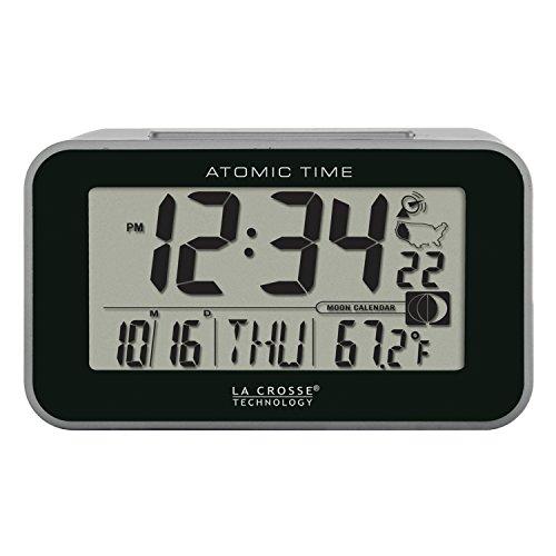 La Crosse Technology 617-1270 Atomic LCD Alarm Clock, Black
