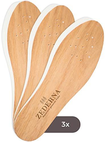 Zederna 3 Paar Einlegesohlen gegen Schweißfüße, Fußgeruch & Schuhgeruch. Zedernholz Einlagen / Schuheinlagen gegen Fußpilz. Natürliches Schuhdeo / Barfusssohlen / Frischesohlen für Arbeitsschuhe