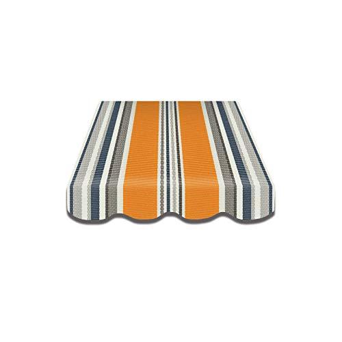Home & Trends Preisgünstige Markisen Tuch Markisenbespannung Ersatzstoffe Maße 4 x 3 m Markisenstoffen Gelb Weiss Streifen OHNE Volant fertig genäht mit Bordeux (SPD040)