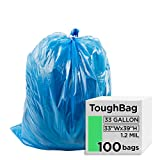 ToughBag 33 Gallon Trash Bags, Blue Recycling...