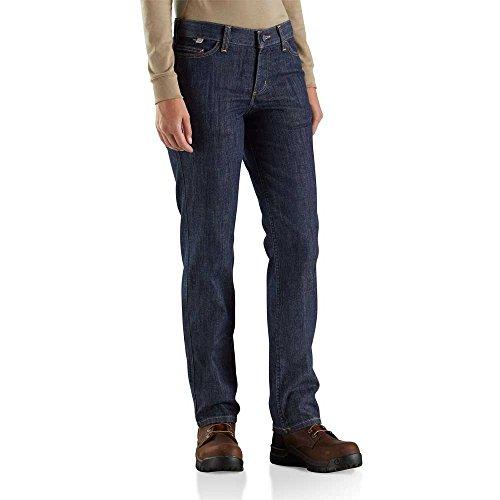 Carhartt Flame Resistant Womens Rugged Flex Jean Original Fit, Premium Dark, 18