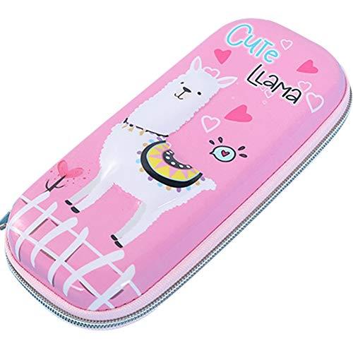 Umora ペンケース 筆箱 ペンボックス 大容量 筆入れ ペンポーチ 化粧ポーチ かわいい 多機能ケース(アルパカ ピンク)