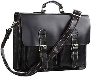 Men's Shoulder Bag Vintage Leather Men's Bag Shoulder Bag Simple Atmosphere Thick Leather Briefcase (Color : Black)
