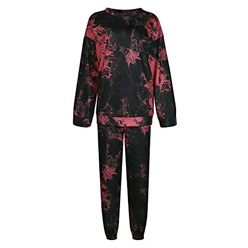 Conjuntos a juego para mujer de 2 piezas, pantalón largo, casual, sudadera con capucha, suéter suelto, rosso, L