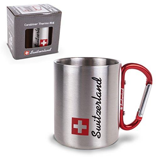 TopSpirit® dubbelwandige roestvrijstalen mok, thermobeker Switzerland met karabijnhaak - roestvrijstalen mok - thermobeker zilver 180 ml