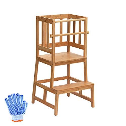 COSYLAND Montessori Taburete de Torre de Aprendizaje de Bambú con Barra de Seguridad para Niños de 18 Meses a 3 Años para Aprender Encimera de Cocina