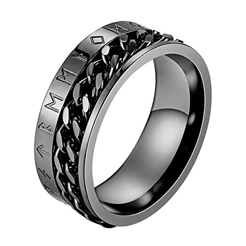 Valily Herren Wikinger Rune Ring Schwarz Edelstahl drehbar Ring kubanische Kette Band Ring Alten Amulett Wikinger Schmuck Größe 67