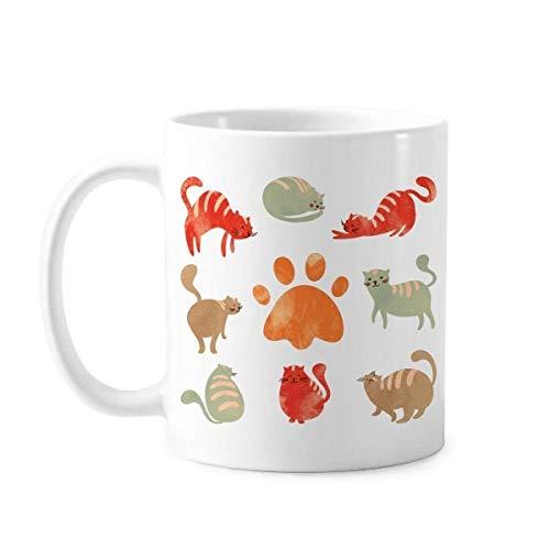 DIYthinker beschermen dier huisdier liefhebber Cartoon veel schattig kat voetafdruk klassieke mok wit aardewerk keramische cup gift melk koffie met handvatten 350 ml
